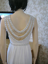 10 TFNC WHITE BRIDAL /  BALL DRESS DIAMANTE 20'S 30'S DOWNTON VINTAGE GATSBY NEW