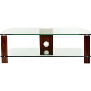 TTAP GROUP Walnut Legs Clear Glass Stand for TV Upto 60-Inch