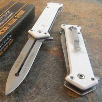 TAC-FORCE Spring Assisted Open WHITE JOKER Stiletto Folding Blade Pocket Knife