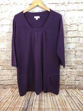 Susan Graver sweater tunic womens 1X plush purple pockets 3/4 sleeve R8