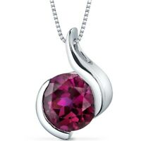 2.75 CT Round Red Ruby Sterling Silver Pendant