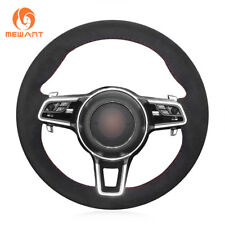 Custom Black Suede Steering Wheel Cover Wrap for Porsche Macan Cayenne 2015 2016