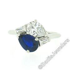 Vintage Maurice Tishman Platinum GIA NO HEAT Pear Sapphire & Diamond Bypass Ring