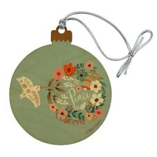 Christmas Peace Wreath Dove Bell Wood Christmas Tree Holiday Ornament