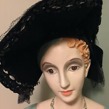 Vintage 1930's black hat felt adornment net see all photos New York Creations