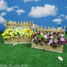 Wooden Planters Wall Picket Fence Pot Garden Flower Plant Pair Herbs Shrub