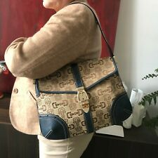 GUCCI horsebit pattern canvas hobo bag w/ blue leather handle and trim