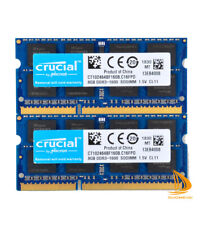 16GB Crucial 2x 8GB PC3-12800S DDR3-1600Mhz SODIMM Laptop Memory 204Pin RAM CL11