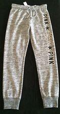 NWT Victoria's Secret Pink Marled Leopard Logo Sweatpants Cuff Ankle   S   HOT
