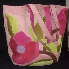 NEW COACH CLASSIC POPPY FOR PEACE FINEST SUEDE PINK FLOWER XL HANDBAG PURSE TOTE