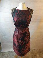 Monsoon Black Satin Floral Beaded Square Neck Sleeveless A-Line Midi Dress Sz 14