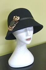 Ladies Vintage Gatsby L@@K Black Felt 57cm Formal Racing Winter Cloche Hat