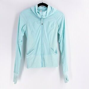 Lululemon In Flux Jacket Hoodie Caspian Blue Size 4 Reversible Fitted Stretch