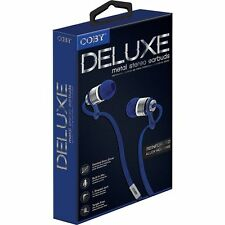 Coby CV-PE03-BLU Tangle-Free Flat Cable Metal Stereo Earbuds w/Mic CVPE03 Blue