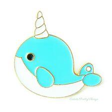 Enamel Pin Brooch (Blue Narwhal Whale) Cute Kawaii Animal Lover Pin Badge