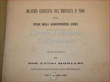 L. MORIANI: Influenza dell'Università di Pavia nella Giurisprudenza Civile 1890