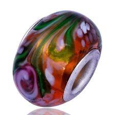 5pcs White Stripe Lampwork Brown Murano Glass Bead European Fit charms Bracelet