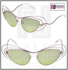 Linda Farrow Erdem Oval Cat Eye Metal Wire Lilac Green Mirrored Edm2 Sunglasses