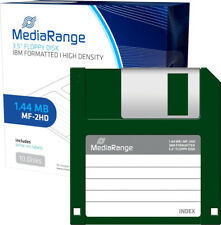 10 MediaRangeDisketten 3,5'' 8,89cm 1,44 Mb Floppy Disc Disk MF-2HD DOS NEU