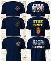 Firefighter UK Fire Department Norway Scotland Northen Ireland Navy TSHirt S-3XL