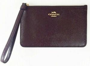 Coach Women's Small Wristlet Patent Crossgrain Leather Wallet - Ox Blood/Gold