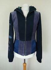 St Martins etiqueta blanca de terciopelo de retazos con capucha Chaqueta Azul Marino Talla S UK 10 en muy buena condición