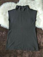 Zara Basic Black High Collar Tunic Top XL Black Sleeveless Top X-Large