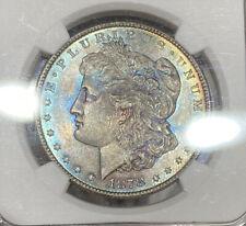 1878 8TF NGC & CAC MS64 Morgan Silver Dollar Extreme Colorful Toning