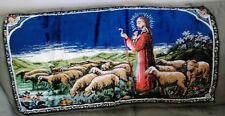 Jesus Tending To Sheep Lamb Velvet Tapestry Rug Wall Hanging Made in Italy