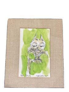 "Jim Rabby 1972 signed Original Rare Watercolor Owl ""Shy Little Owl"""