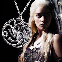 Game of Thrones Halskette Targaryen Drache Wappen Fire and Ice Neu Silber