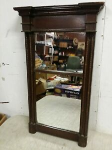 Antique Federal Wall Mirror, Carved Mahogany Wood, 22x13 Divided