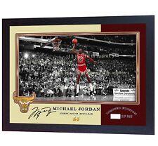 NEW Michael Jordan Chicago Bulls signed autograph NBA Print photo JORDAN FRAMED.
