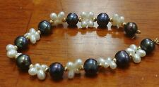 Black Peacock & White Pearl Bracelet with 14K Yellow Gold Clasp & 14K Beads