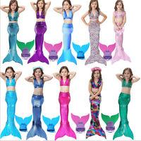 Kids Girls 3Pcs Mermaid Tail Swimming Bikini Sets Swimwear Mono Fin Swimmable