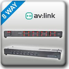 P6b1 Av: enlace De Audio 8 Way Altavoz Divisor Conmutador Selector Multi Room estéreo