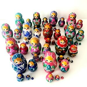Lot of 12 New Hand Painted Russian Nesting Doll Matryoshka Sets 5 Piece Each