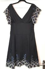 KAREN MILLEN BLACK EMBROIDERED PARTY SILK PLUNGE DRESS SIZE UK 14 US 10 EUR 42 ♡