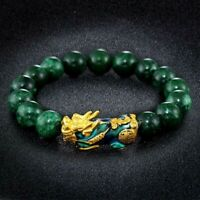 Feng Shui Green Stone Beads Bracelets Golden Color Changed Pixiu Charm Bracelet