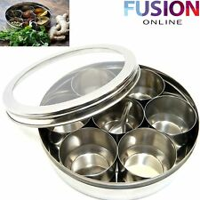 STAINLESS STEEL INDIAN 7 SPICE TIN BOX TANDOORI MASALA DABBA SPICES BOX STORAGE