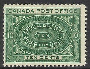 CANADA SCOTT E1 MH FINE - 1898 10c BLUE GREEN SPECIAL DELIVE ISSUE    CAT $110