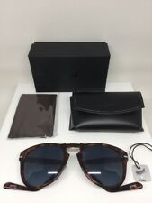 New Authentic PERSOL 714 SUNGLASS Blue Polarized Steve McQueen DARK HAVANA 54mm