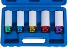 5PCS Impact Socket Set Thin Wall Deep Wheel Protector 1/2-Inch #15#17#19#21#22mm