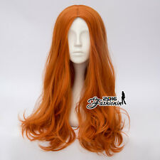 Wavy Lolita 60CM Orange Long Hair Daily Wig Women Anime Cosplay Wig + Wig Cap