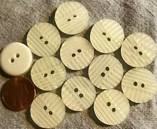 """12 Off-White Pearlized Plastic Sew-through 2-hole Buttons 3/4"""" 19mm # 4868"""
