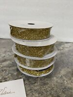 """Set of (4) 1"""" X 9' Decorative Gold Tinsel Ribbon by Valerie Parr Hill"""