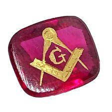 Antique Freemason 14k Gold G Symbol Lab Created Ruby — Ex Jewelry Mason Ring
