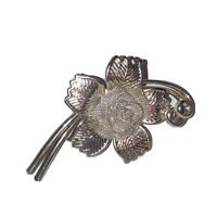Vintage Costume Jewellery Rose Flower With Mesh Centre Silver Tone Brooch