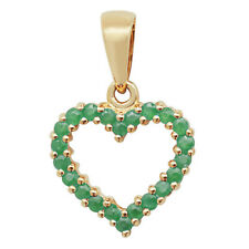 0.6CT EMERALD HEART PENDANT  NECKLACE 9CT YELLOW GOLD