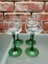 More details for 4 vintage green hock glasses with clear tall stems 15cms high
